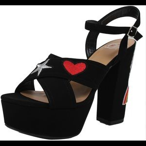 Shoes - Black Open toe patched ankle strap block heel